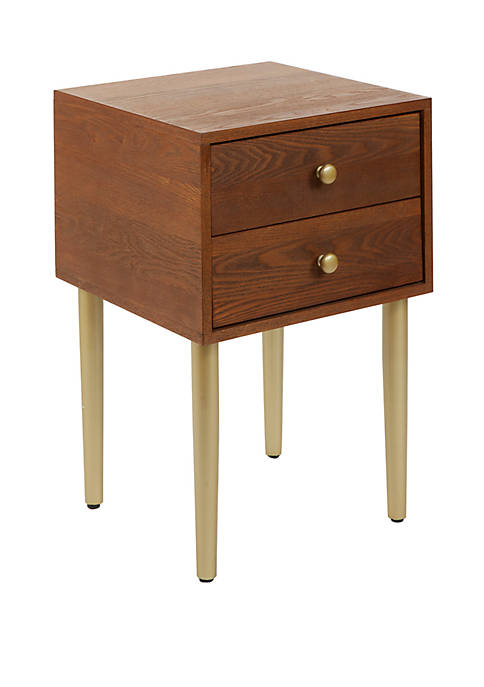 Hepburn 2 Drawer Mixed Material Mid Century Modern Side Table