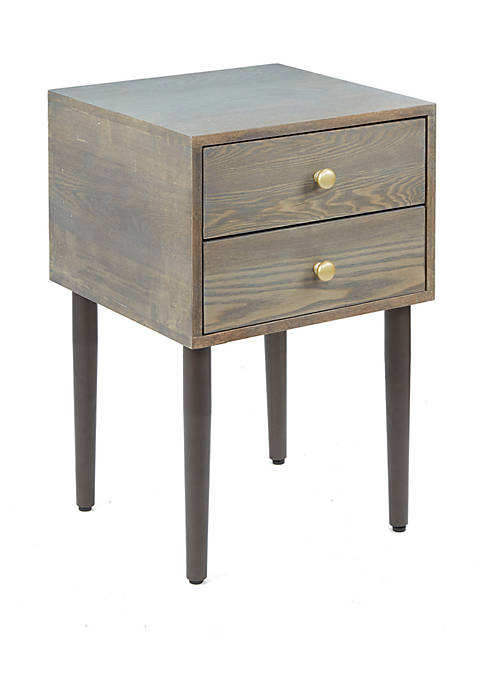 Hepburn 2 Drawer Mixed Material Mid-Century Modern Side Table