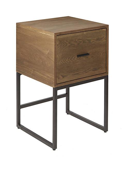 Langley 1 Drawer Metal and Wood Side Table