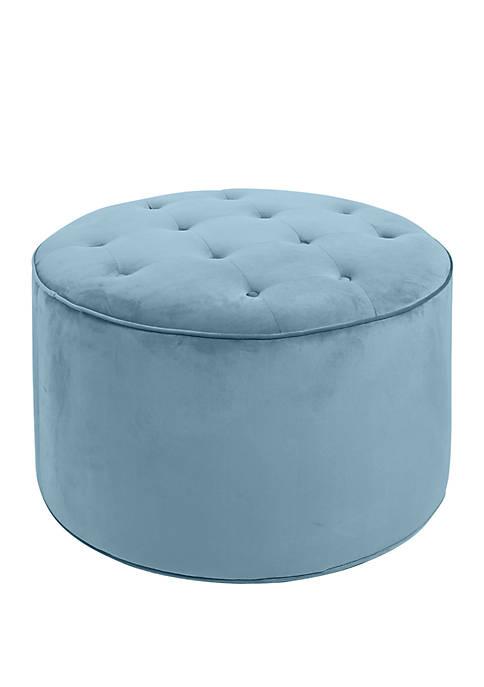 Silverwood Colette Capri Blue Tufted Large Round Ottoman