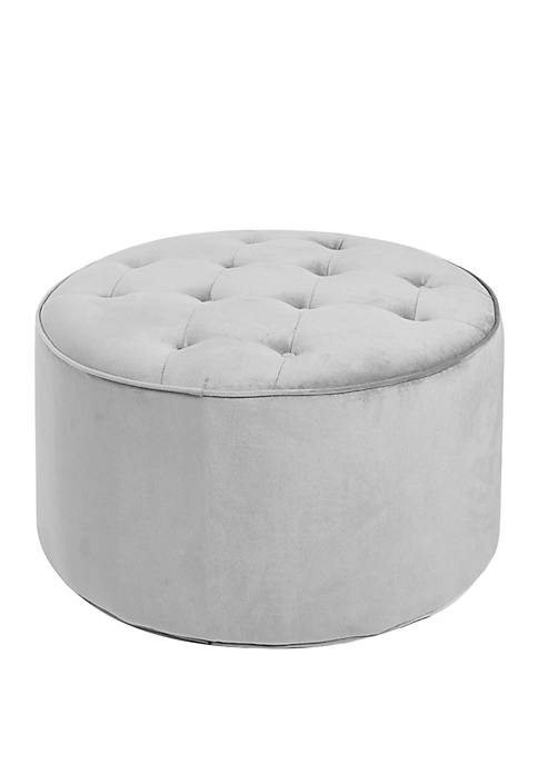 Collette Grey Tufted Large Round Ottoman