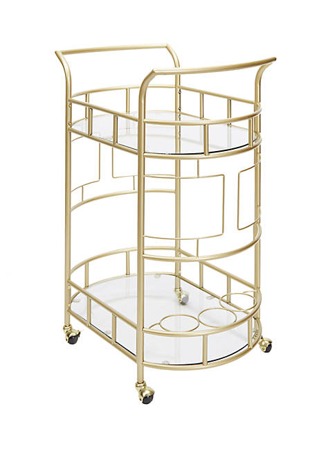 Sinclair 2 Tier Serving Cart in Gold