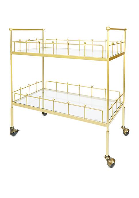 Fitz 2 Tier Rectangular Serving Cart in Gold