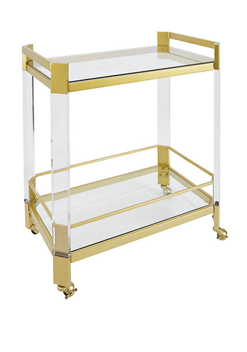 Huxley Acrylic and Gold with Glass Top Bar Cart