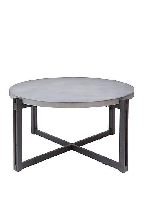 Dakota Coffee Table with Round Concrete Finish Top