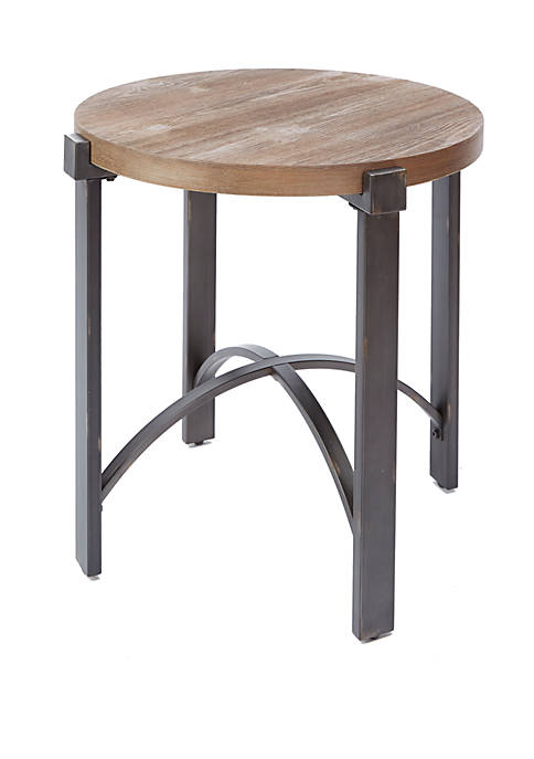 Lewis End Table with Round Wood Top
