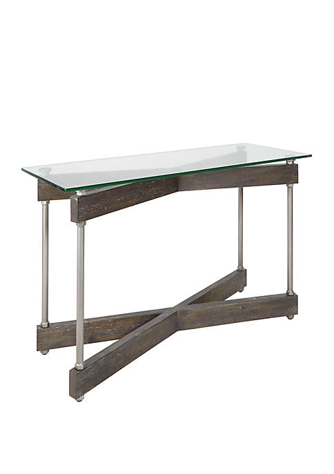 Silverwood Garth Glass and Wood X Frame Console
