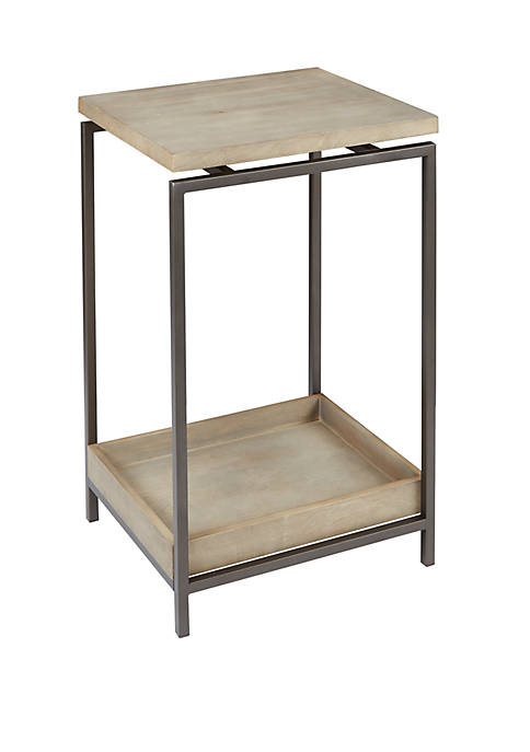 Silverwood Brooks Metal End Table with Floating Wood