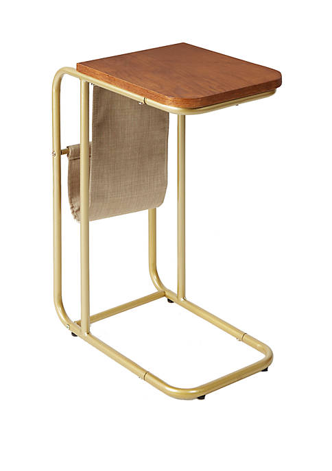 Rex Metal and Wood C Table with Sling Magazine Holder