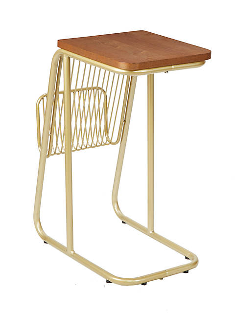 Thompson Industrial Frame C Table with Wire Magazine Rack