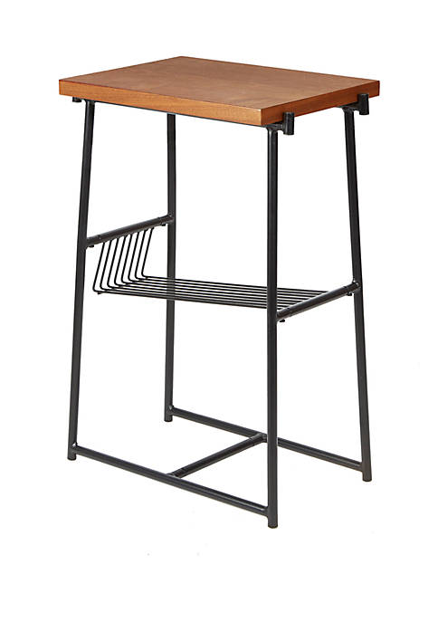 Silverwood Alden Industrial Accent Table with Wire Magazine