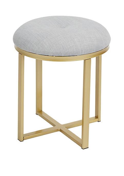 Silverwood Mia Upholstered Metal Round Vanity Seat