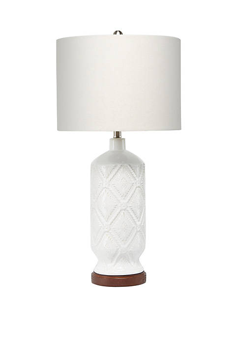 Silverwood Cassidy Diamond Stamped Ceramic Table Lamp