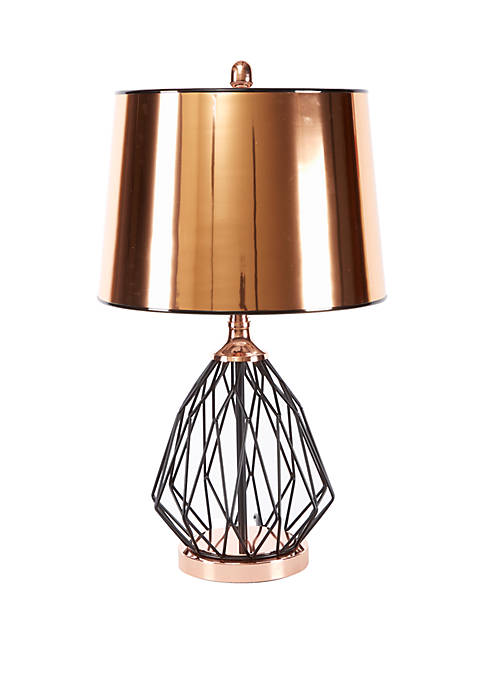 Silverwood Geoff Geometric Cage Table Lamp with Copper