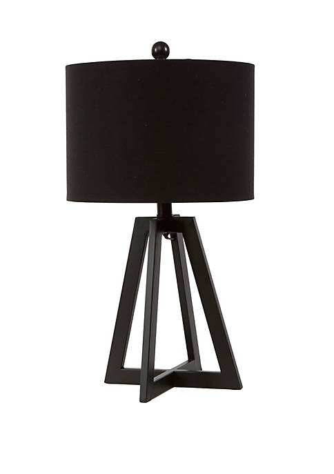 Nila Transitional Open Frame Table Lamp with Black and Gold Shade