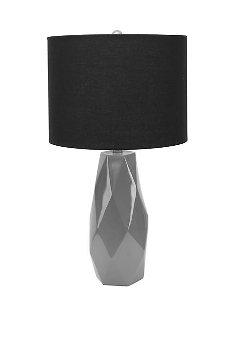 Silverwood Naomi Faceted Table Lamp with Shade, Gray
