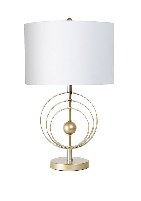 Golden Metal Stick Lamp with Circle Feature