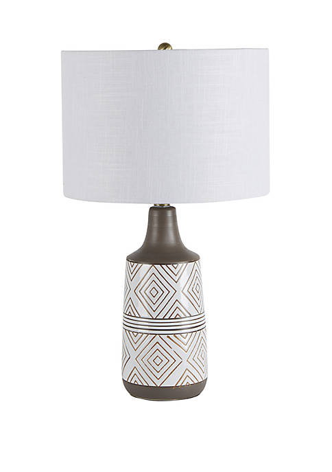 Silverwood Azure Diamond Etched Ceramic Table Lamp