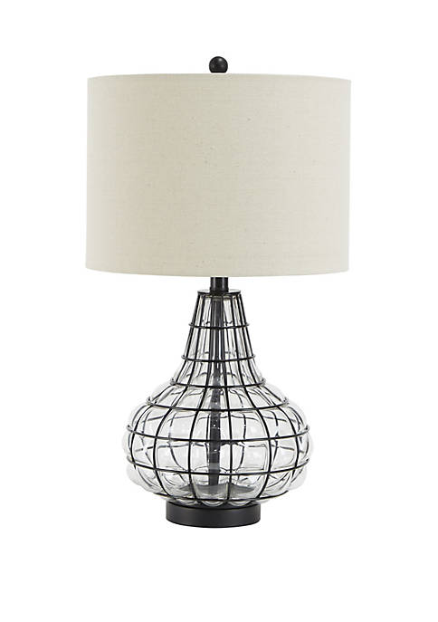 Reece Tall Caged Glass Table Lamp