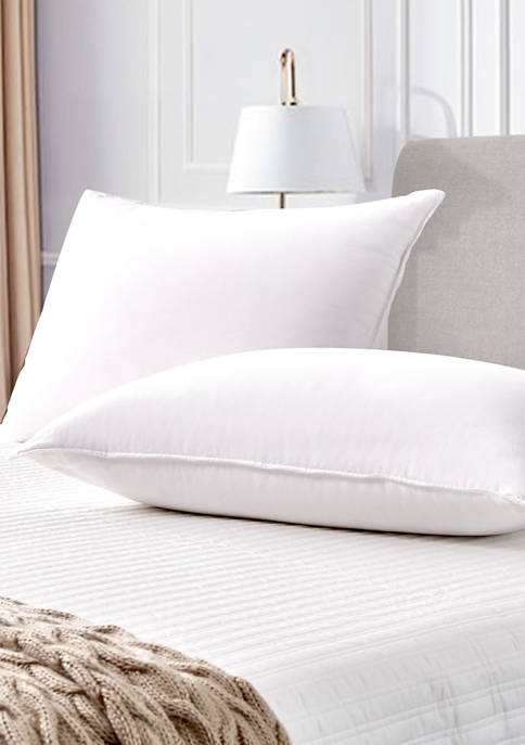 Set of 2 330 Thread Count Back Sleeper White Goose Feather and Down Fiber Pillows