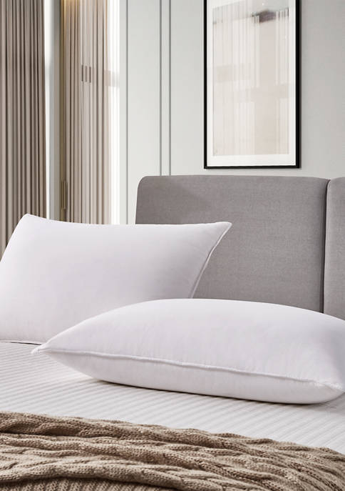 Set of 2 330 Thread Count Back Sleeper White Goose Feather and Down Fiber Pillow