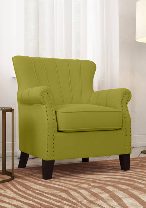 Handy Living Channel Tufted Arm Chair in Linen