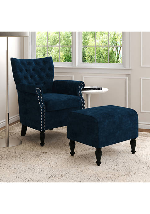 Handy Living Button-Tufted Rolled Armchair and Ottoman Set