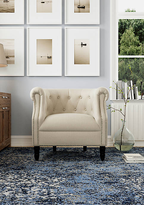 Handy Living Chesterfield Chair in Linen
