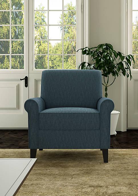 Handy Living Jean Rolled Arm Chair in Herringbone