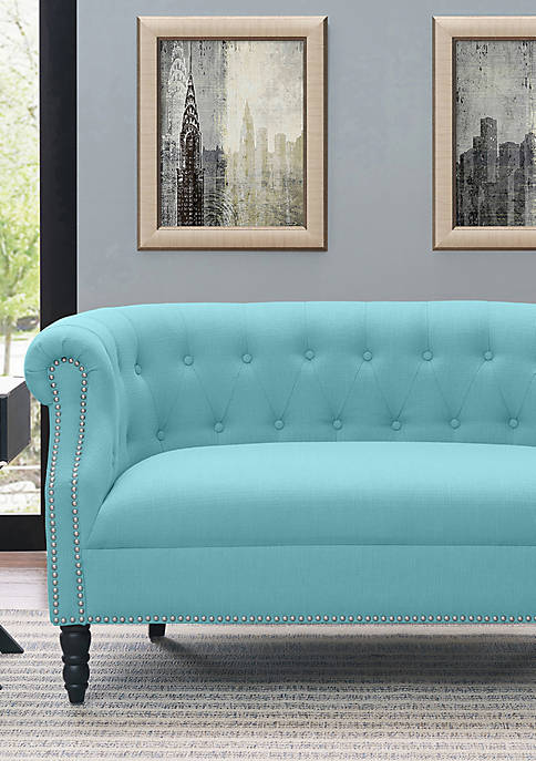 Handy Living Chesterfield Loveseat in Linen