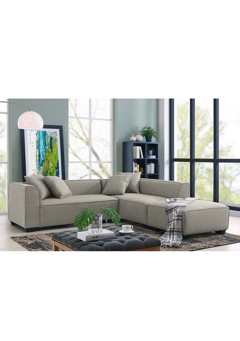 Handy Living Phoenix Sectional Sofa & Ottoman in