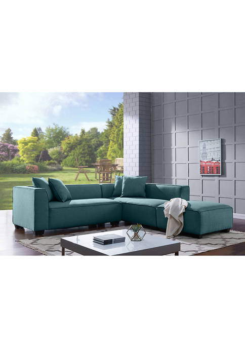 Handy Living Phoenix Sectional Sofa & Ottoman in