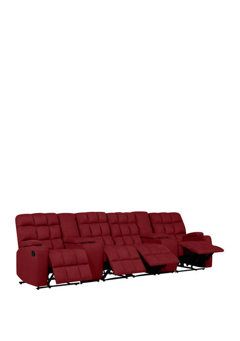 4 Seat Wall Hugger Recliner Sofa with 2 Power Storage Consoles in Microfiber