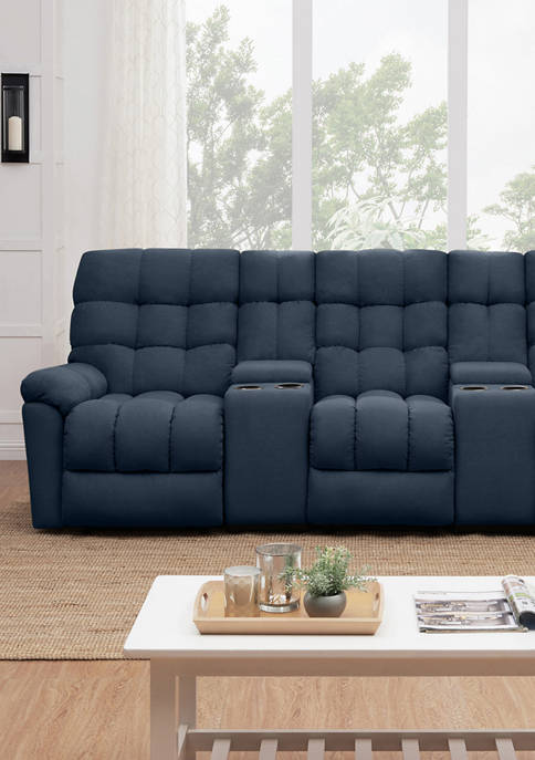 3 Seat Tufted Wall Hugger Recliner Sofa with 2 Power Storage Consoles in Plush Low Pile Velvet