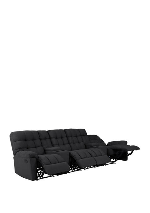 Prolounger 4 Seat Tufted Wall Hugger Recliner Sofa With 2 Power Storage Consoles In Plush Lowpile Velvet Belk