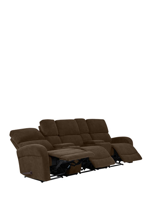 3 Seat Wall Hugger Recliner Sofa with 2 Power Storage Consoles in Chenille