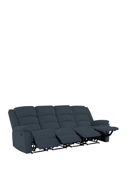 4 Seat Pillow Top Arm Recliner Sofa in Plush LowPile Velvet