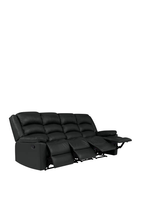 4 Seat Pillow Top Arm Recliner Sofa in Polyurethane