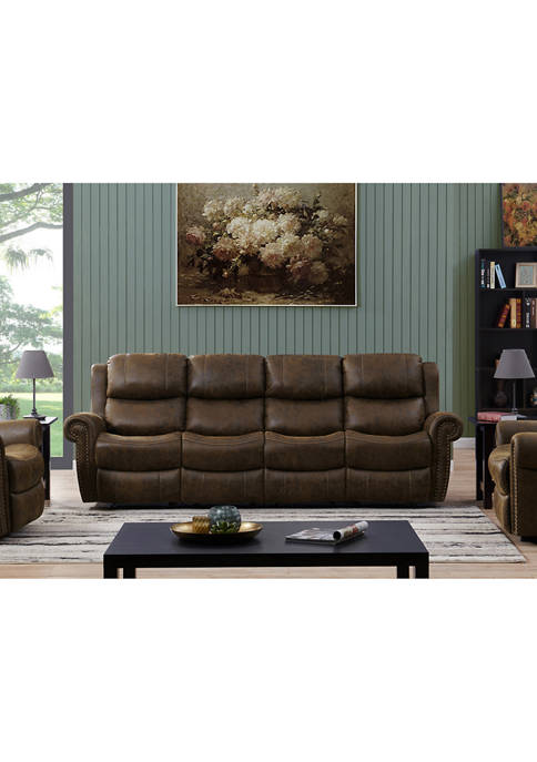 4 Seat Rolled Arm Wall Hugger Recliner Sofa in Distressed Faux Leather