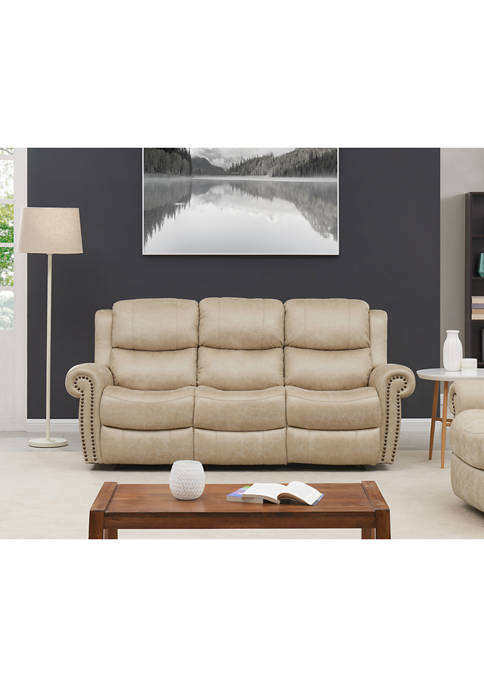 3 Seat Rolled Arm Wall Hugger Recliner Sofa in Distressed Faux Leather