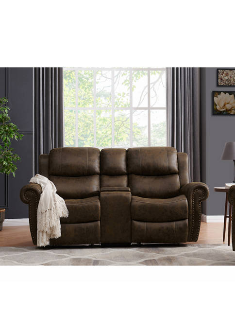 2 Seat Rolled Arm Wall Hugger Recliner Loveseat with Power Storage Console in Distressed Faux Leather