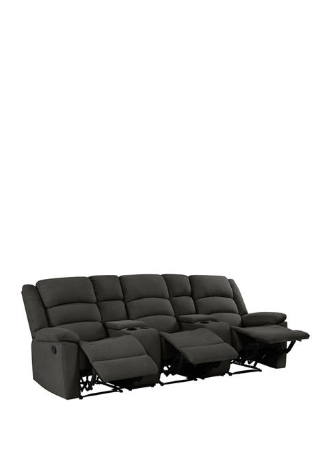 3 Seat Pillow Top Arm Recliner Sofa with 2 Storage Consoles in Plush LowPile Velvet
