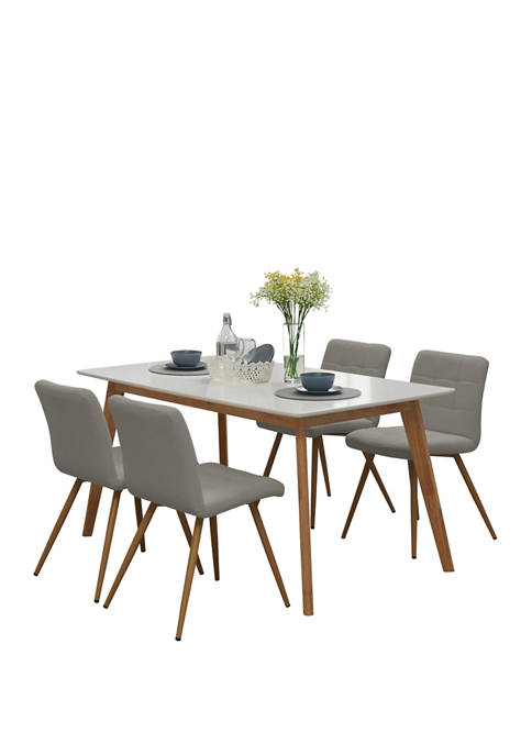 Handy Living Windsor 5piece Rectangle Table with White