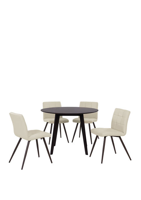 Handy Living Edgewater 5 Piece Round Table in