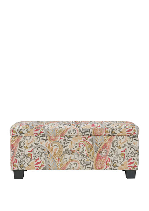 Handy Living LaSalle Tufted Storage Ottoman in Paisley