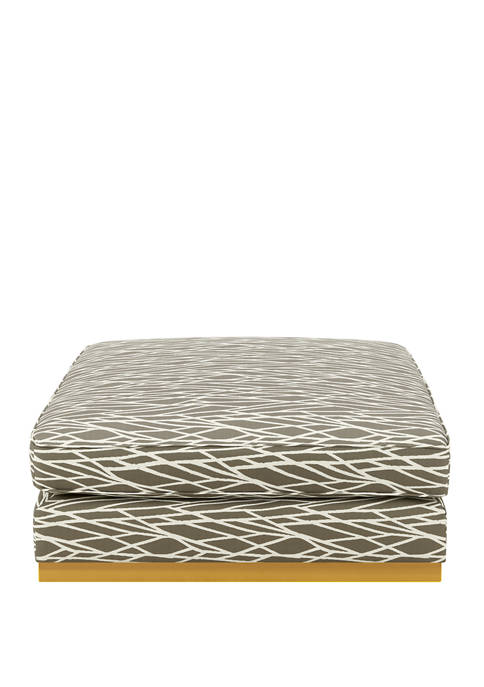 Handy Living Square Upholstered Cocktail Ottoman in Modern