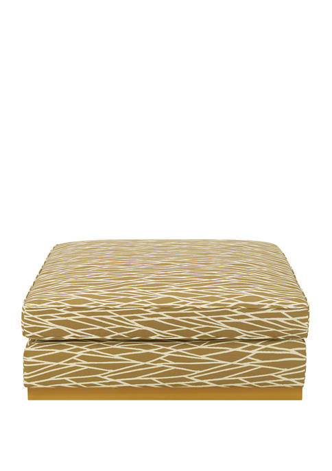 Square Upholstered Cocktail Ottoman in Modern Geometric Print