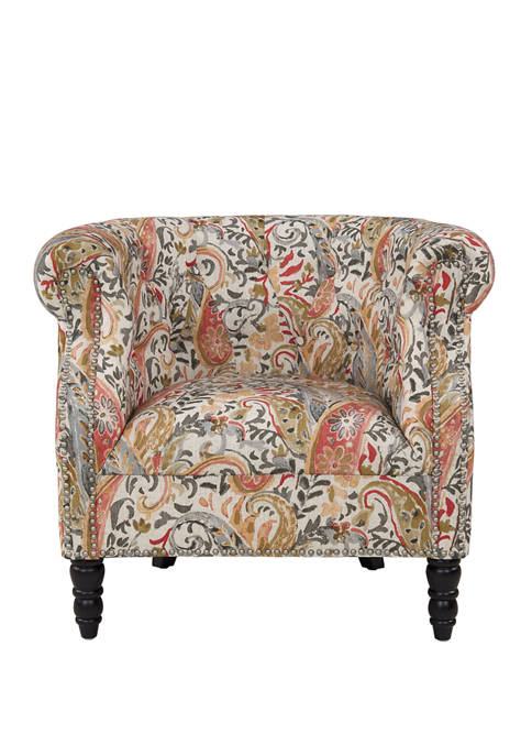 Handy Living Chesterfield Chair in Paisley