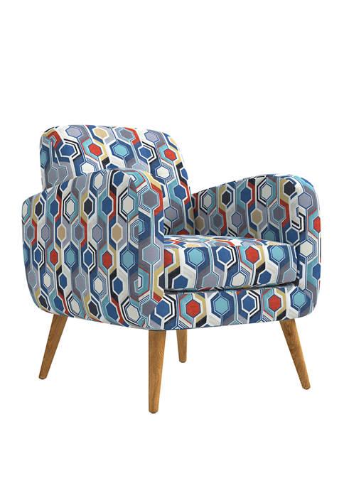 Kingston Mid Century Modern Arm Chair in Beehive Print