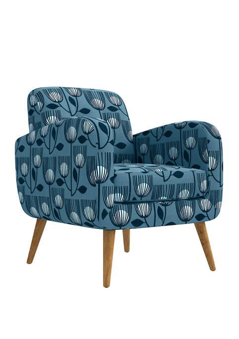 Kingston Mid Century Modern Arm Chair in Modern Tulip Print